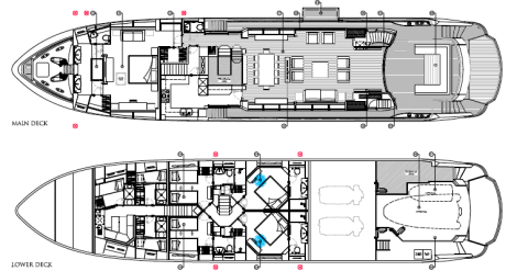 "Layout: The Sunseeker 115 Sport Yacht ""ZOZO"""