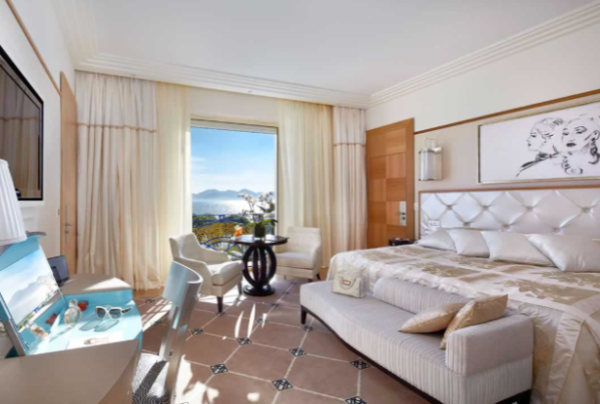 Available rooms at the Grand Hyatt Cannes Hôtel Martinez include the Sea View Luxury Deluxe