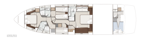 Sunseeker Manhattan 65: Lower Deck Layout