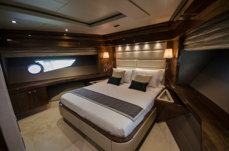 The forward VIP cabin enjoys its own access and lobby area