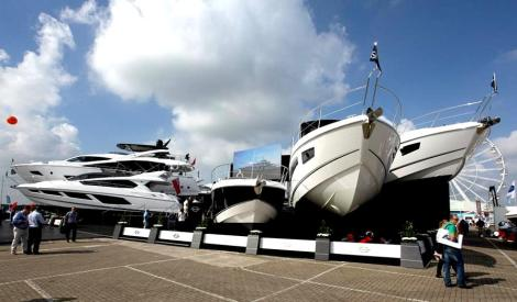 The Sunseeker stand is the largest of the exhibitors at the Southampton Boat Show