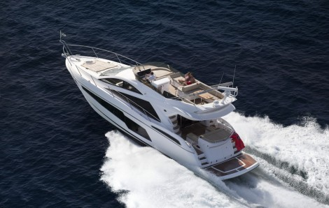 The popular flybridge Sunseeker Manhattan 55 is on display at the boutique yachting event