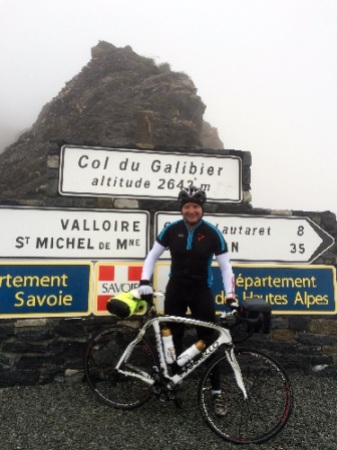 """Ben Young pictured on his training ride from Geneva to Nice in the """"Grand Tour Des Alpes"""" earlier this summer"""