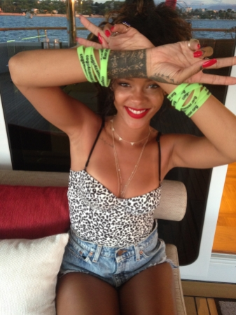 Star backing: Cogs4Cancer have garnered some serious support for their Ancona to Antibes charity cycle, already raising an amazing €96,000 so far! Rihanna showed off her C4C wristbands off in the Med this week...