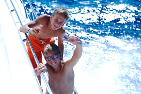 "The day's yacht charter onboard the Sunseeker Manhattan 62 ""KASBAH"" proved very popular with the winner's children!"