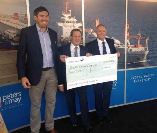 Sunseeker London Directors David Lewis (M) and Christopher Head (R) are presented with a cheque for £10,445 from Peters & Mayfor Breast Cancer Clinical Trials