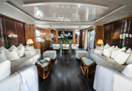 The Saloon of the 86 Yacht, which made its debut at the Cannes Yachting Festival