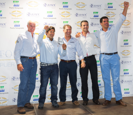 The winning team, Bribón-Movistar, pictured after winning the J80 class race in Sotogrande