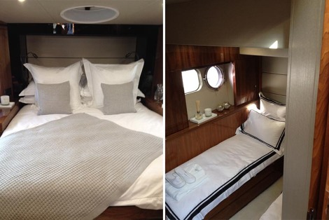 Each of the Sunseeker Manhattan 55's cabins have The White Company touch for the Southampton Boat Show