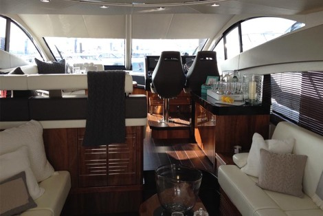The White Company have dressed the interior of the Manhattan 55 at Southampton Boat Show