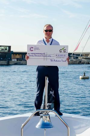 Robert Braithwaite, founder of Sunseeker, presented Ben Young with a cheque for £20,000 (€25,500) from The Autumn Trust