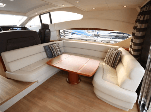 With a patio door arrangement, this Predator 62 offers the option to enclose the Saloon, or open it up to the outside surroundings