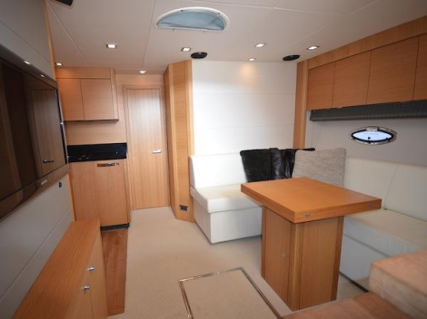 "The one-owner Portofino 48 ""JUJU"" presents impeccably, and is available to view at the Sunseeker Poole sales facility"