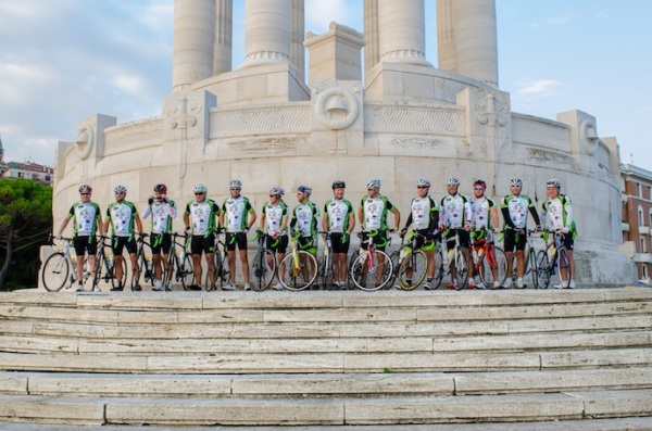 Team C4C: All from a yachting industry background, the Cogs4Cancer riders are raising money to support Cancer Research UK and local French charities