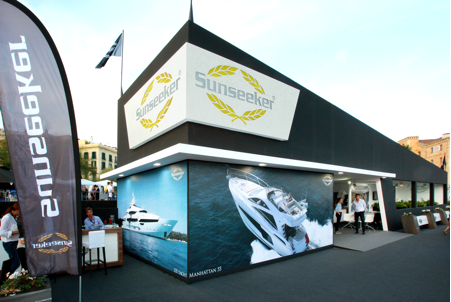 The Sunseeker stand was located along Moll d'Espanya, Barcelona
