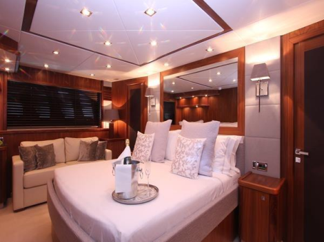 """The Sunseeker 90 Yacht """"DEVOTION"""" features a full-beam aft Master Cabin"""