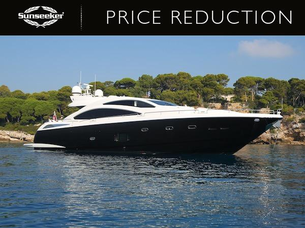 "The Sunseeker Predator 84 ""FIRECRACKER"" has been reduced to £2,500,000 ex VAT"