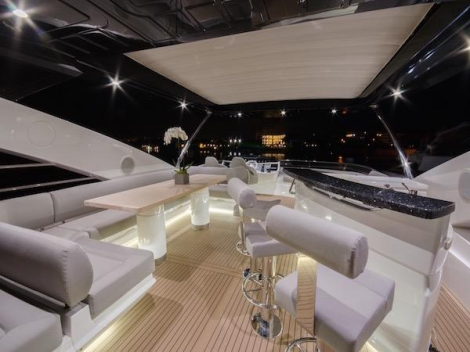 """""""TOMMYBELLE"""" features a GRP hard top, flybridge jacuzzi and a crane for toys"""