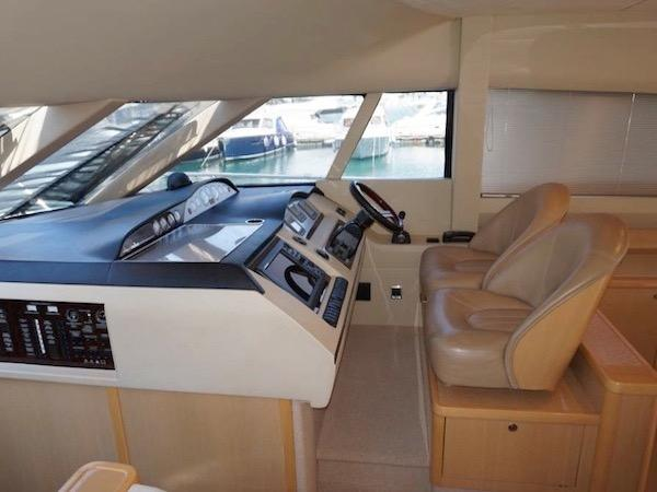 """Multiple windows ensure an excellent view from the helm of the Princess 58 Flybridge """"ECLIPSE"""""""