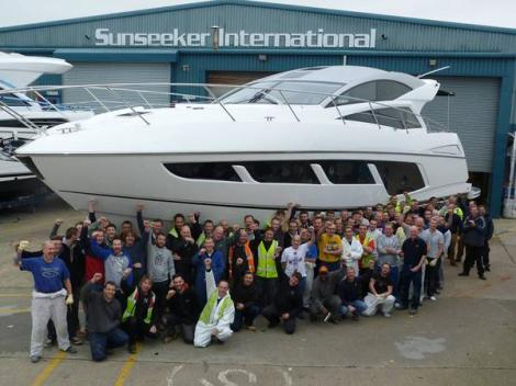 The stunning new Sunseeker Predator 57 pictured in December ahead of her sea trials