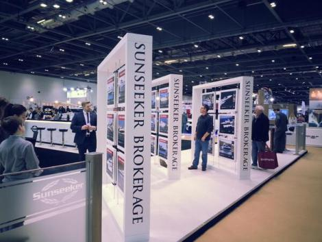 Sunseeker Brokerage has its own dedicated stand advertising brokerage vessels at the London Boat Show
