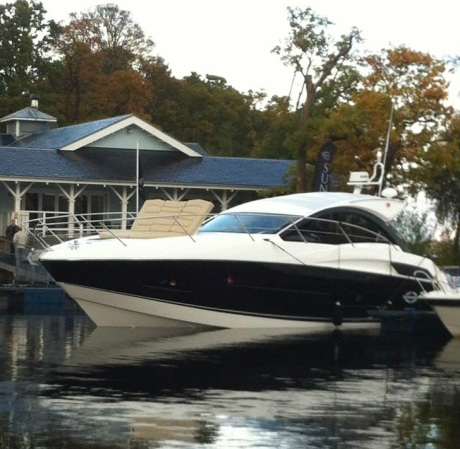 Pictured at Scotland Boat Show earlier this season, this black hulled Portofino 40 has been sold by Sunseeker Southampton