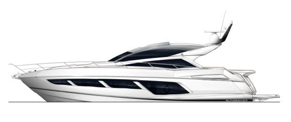 Exterior GA: The Sunseeker Predator 57 features sleek lines and expansive windows