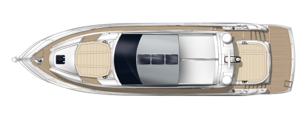 The Predator 57 is fitted with a mullion free windscreen, sliding roof and patio doors