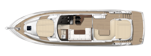Clever use of space aft on the Predator 57 accommodates guests in a large U-shape seating cluster in addition to generous sunbathing areas