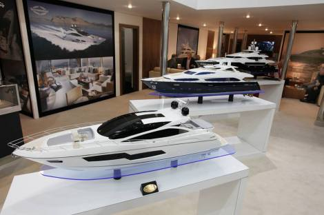The Sunseeker VIP lounge at the London Boat Show
