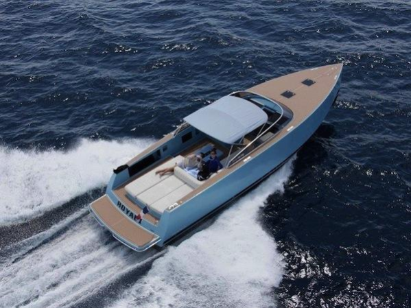 "With a sky blue hull, ""ROYAL 2"" is a particularly striking example of the VanDutch 40"