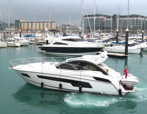Berthed in St Helier Marina, the new Portofino 40 will be looked after by the Sunseeker Channel Islands team