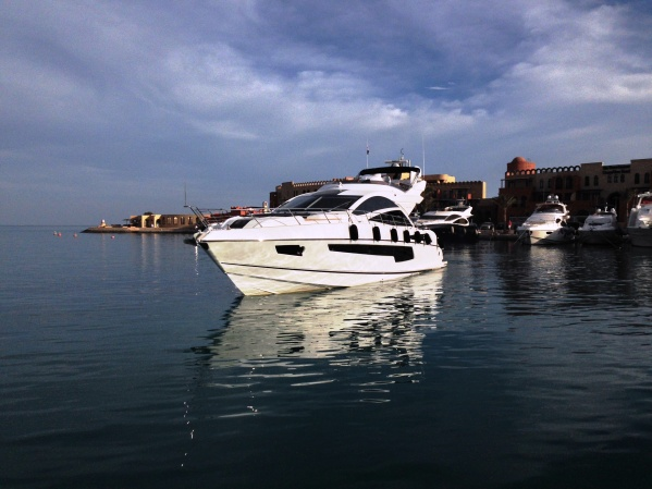 "Berthed in Abu Tig Marina, the 68 Sport Yacht ""FAFY"" is creating some serious attention with her striking Sunseeker looks"