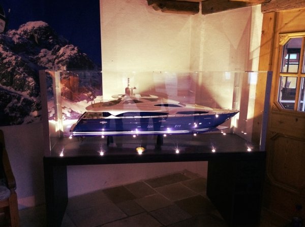 This Sunseeker 34 Metre Yacht model takes pride of place in the lobby of Le Chabichou as part of the Sunseeker Cannes partnership