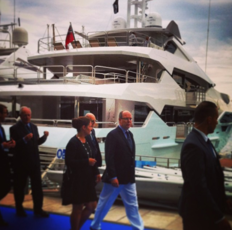 Prince Albert II pictured on the Sunseeker stand at the Monaco Yacht Show earlier this year (Instagram @SunseekerBlog)