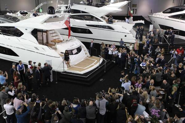 London Boat Show 2015 - Nicole Sherzinger opened the Sunseeker stand