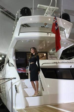 The world's press pictured Nicole Scherzinger onboard the new flybridge addition to the Sunseeker range, the Manhattan 65