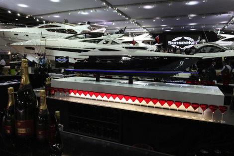 The Sunseeker stand is hosting a fundraising event for the annual late night opening at the London Boat Show