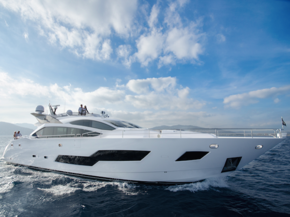"The 101 Sport Yacht ""SANDY"" cuts a striking profile in the water"