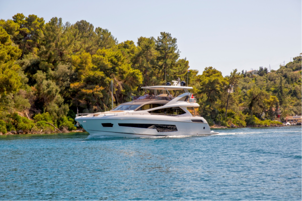 "The Sunseeker Hellas team saw the familiar view of the 75 Yacht ""FINEZZA"", which is available to charter in the Ionian"