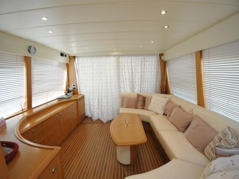 """Built in 2005, the Guy Couach 195 Fly """"ORPHEE"""" is finished with a light oak interior and luxurious furnishings"""