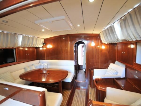 """The Amel 54 """"CARPE DIEM III"""" features a large central Saloon and well-appointed U-shaped Galley"""