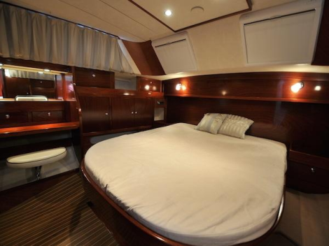 Accommodation comprises of an Owner's full beam Cabin to stern, stern, 2 forward Guest Cabins, and 2 bunk beds in the corridor going forward to a shared shower room