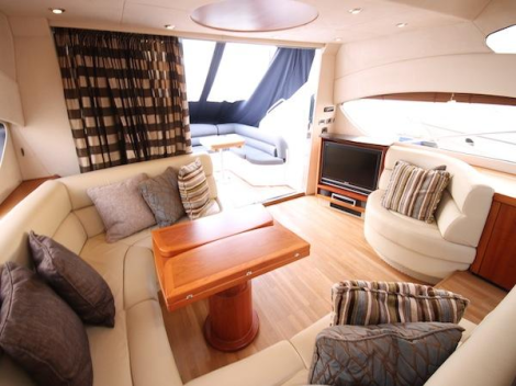 Offering a capacious Aft Cockpit, Saloon and Upper Deck area, the Predator 62 also features a sliding hard top
