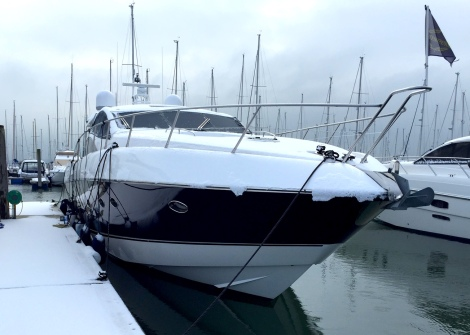 "A snow capped Sunseeker Predator 62 ""OPTIONS"" in Lymington, UK"