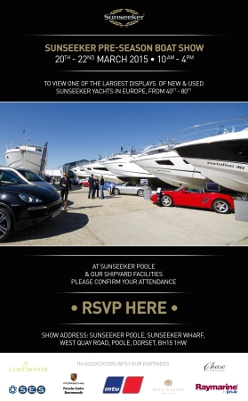 The Sunseeker Pre-Season Boat Show will take place at Sunseeker Poole on the weekend of 20th-22nd March 2015