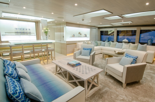 """The Beach Club feel continues through the Sky Deck of the 40 Metre Yacht """"THUMPER"""""""