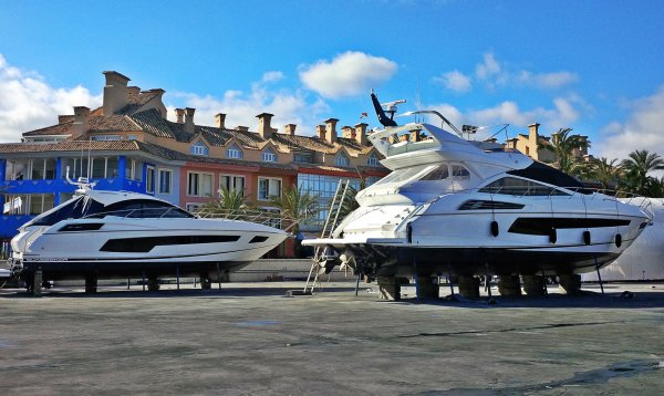 The Sunseeker Andalucia service teams are busily preparing boats for the upcoming season - here a San Remo and Manhattan 55 are pictured in the Sotogrande service yard