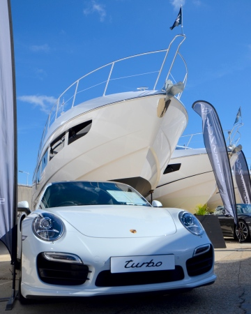 A selection of Porsche cars from Porsche Bournemouth complimented the range of Sunseeker yachts on display