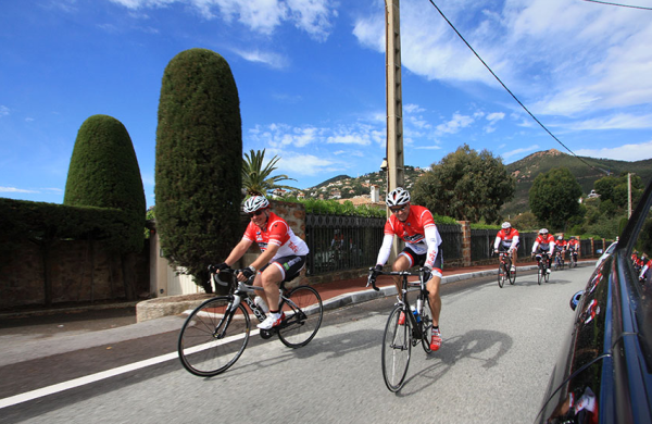 The Sunseeker team, headed by Christopher Head, will cycle in convoy (fittest first!) along the idyllic Cote d'Azur for approximately 140km